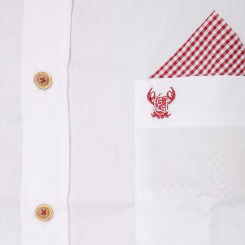 Trachtenhemd Body Fit Hannes zweifarbig in Weiß und Rot von Gweih und Silk