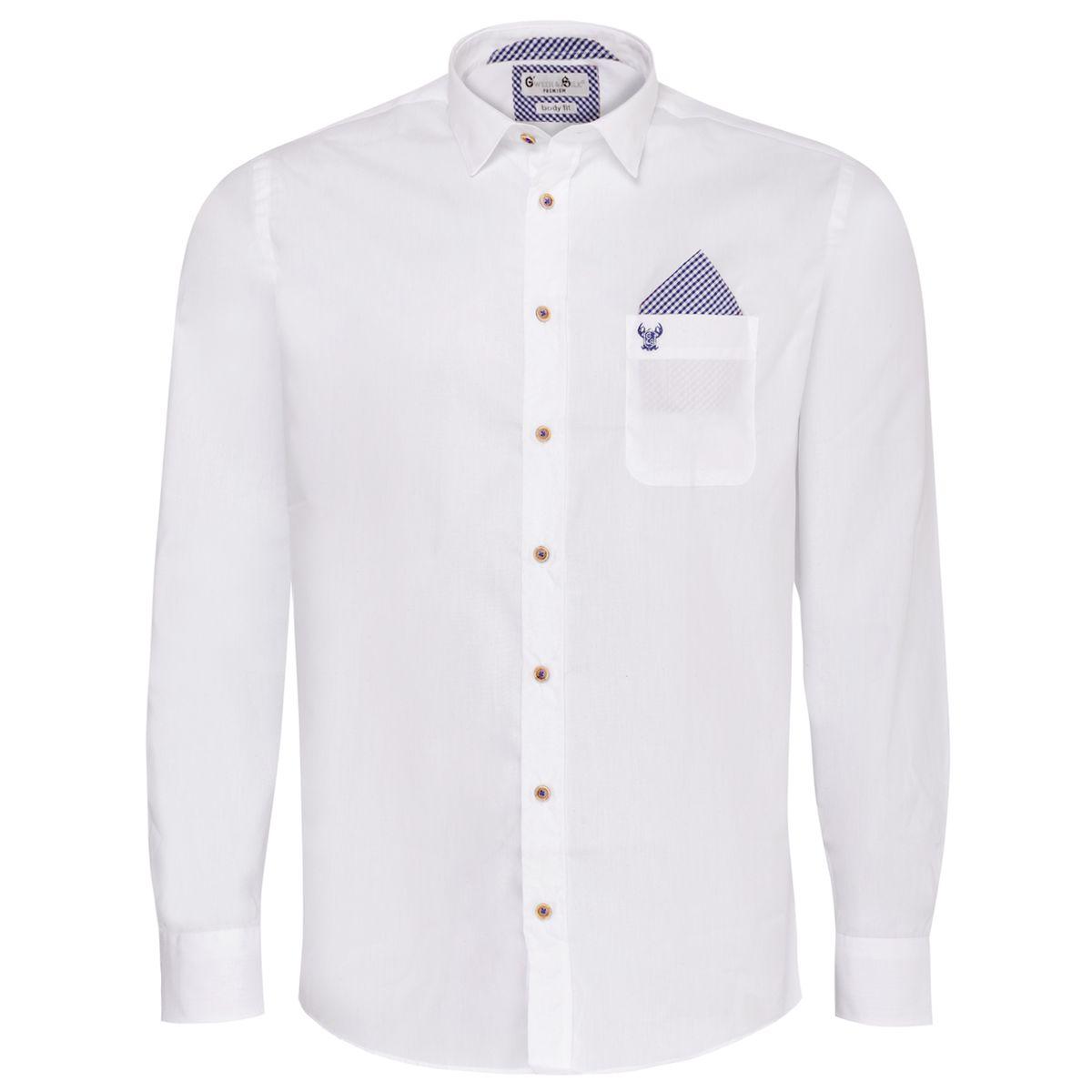 Trachtenhemd Body Fit Flori zweifarbig in Weiß und Blau von Gweih und Silk