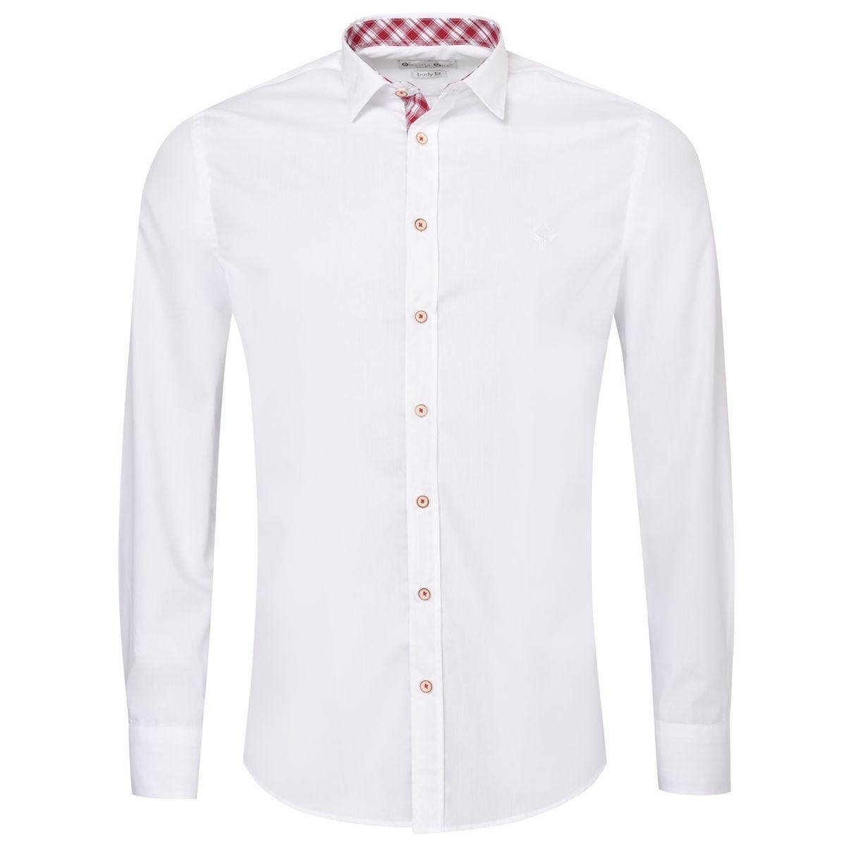 Trachtenhemd Body Fit Fred zweifarbig in Weiß und Rot von Gweih und Silk
