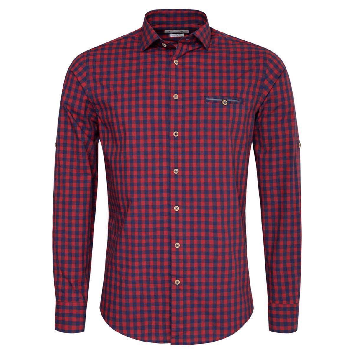 Trachtenhemd Body Fit Woife zweifarbig in Rot und Dunkelblau von Gweih und Silk