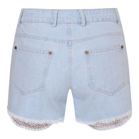 kurze Jeans-Lederhose Aurelie in Hellblau von Krüger Dirndl