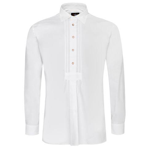 Trachtenhemd Alexander Slim Fit mit Biesen in Weiß von Hammerschmid