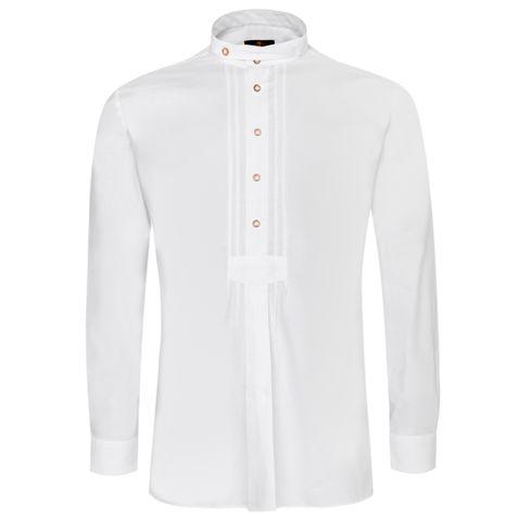 Trachtenhemd Alfred Slim Fit mit Biesen in Weiß von Hammerschmid
