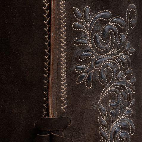 kurze Lederhose Cornelius in Dunkelbraun von Marjo Trachten