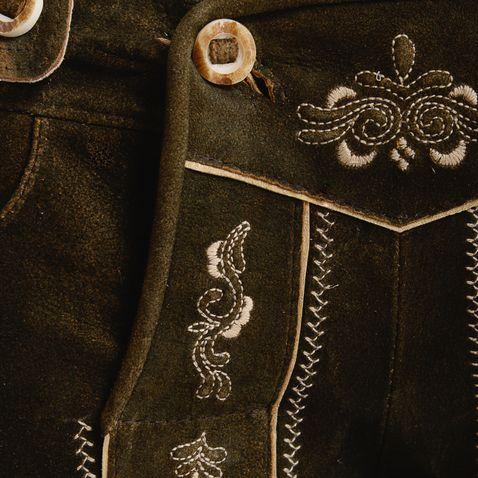 kurze Lederhose Leni in Dunkelbraun von Marjo Trachten