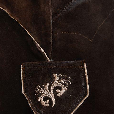 kurze Lederhose Zenzi in Dunkelbraun von Marjo Trachten