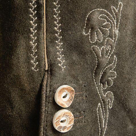 kurze Lederhose Bertl in Dunkelbraun von Marjo Trachten