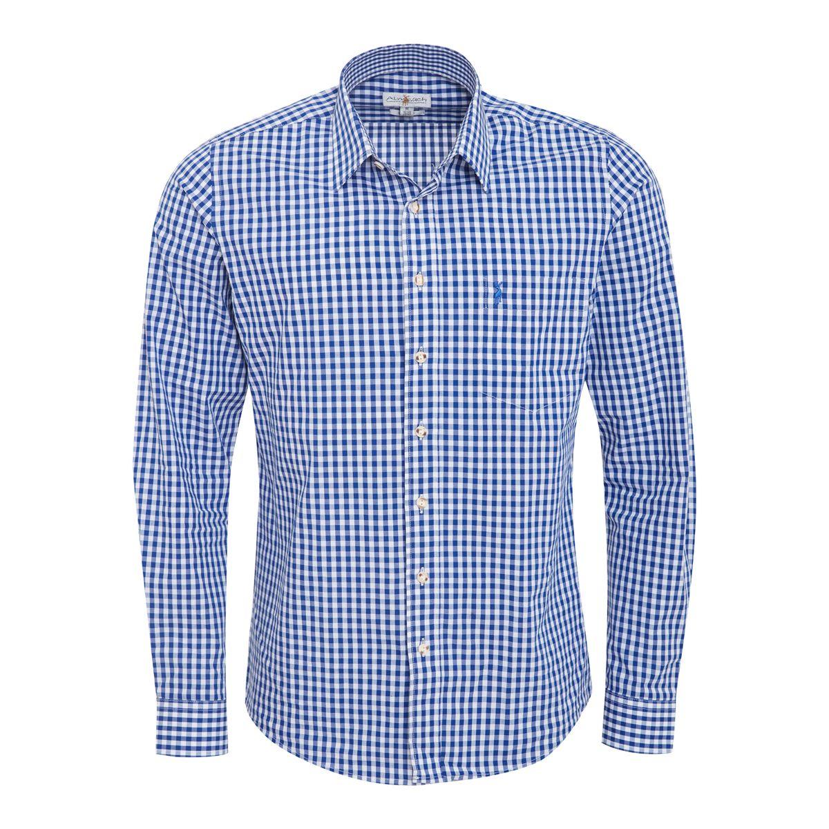 Trachtenhemd Johann Slimline in Blau von Almsach