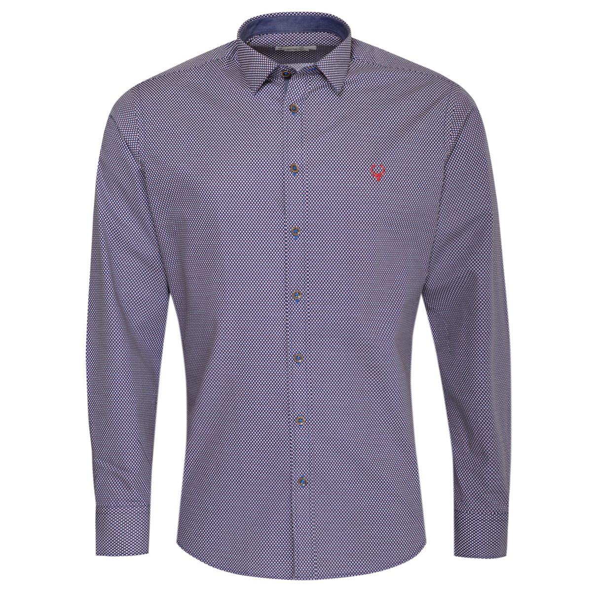 Trachtenhemd Body Fit Eugen mehrfarbig in Blau und Rot von Gweih und Silk günstig online kaufen