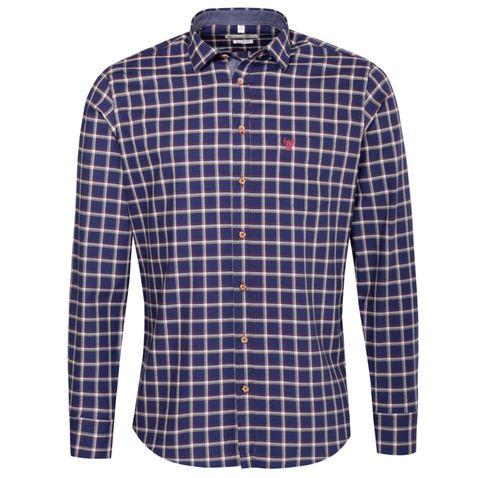 Trachtenhemd Body Fit Sepp mehrfarbig in Blau, Rot und Hellbraun von Gweih und Silk