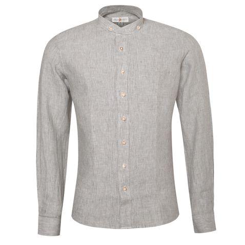 Trachtenhemd Slim Fit Achim in Braun von Almsach Leinenhemd