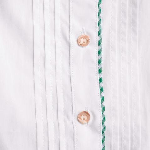 Trachtenbluse Otti zweifarbig in Weiß und Grün von Almsach