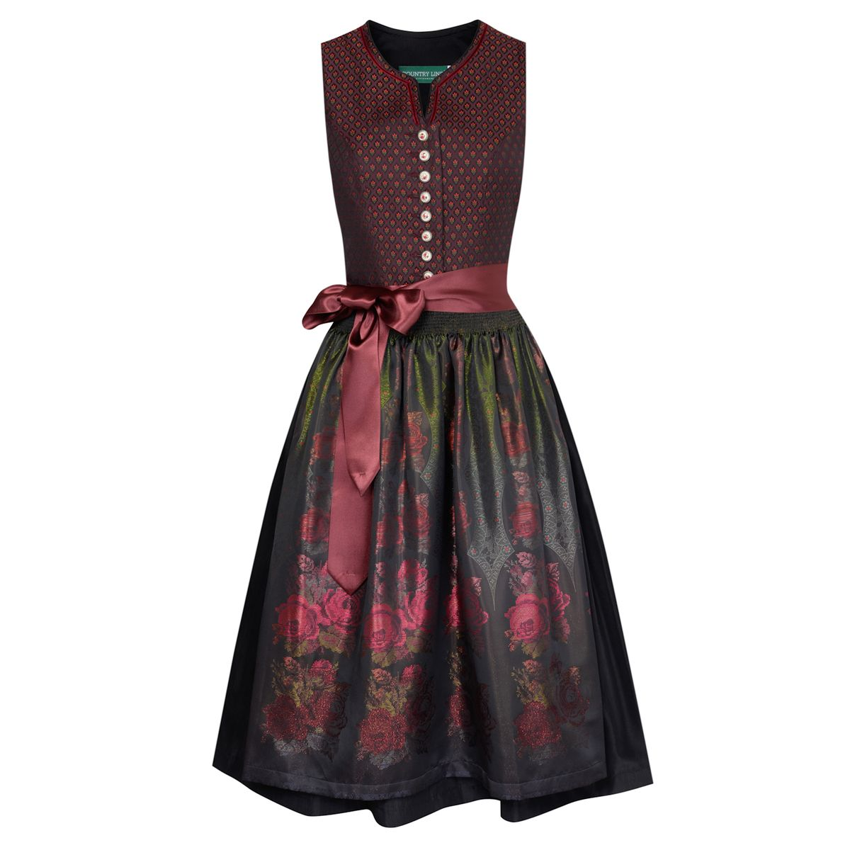 midi dirndl emmi in weinrot von country line damen dirndl midi dirndl. Black Bedroom Furniture Sets. Home Design Ideas