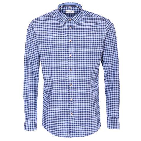 Trachtenhemd Body Fit Hallstättersee in Blau von Gweih und Silk