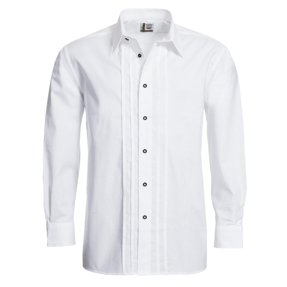 Trachtenhemd Josef Regular Fit mit Biesen in Weiß von Schweighart