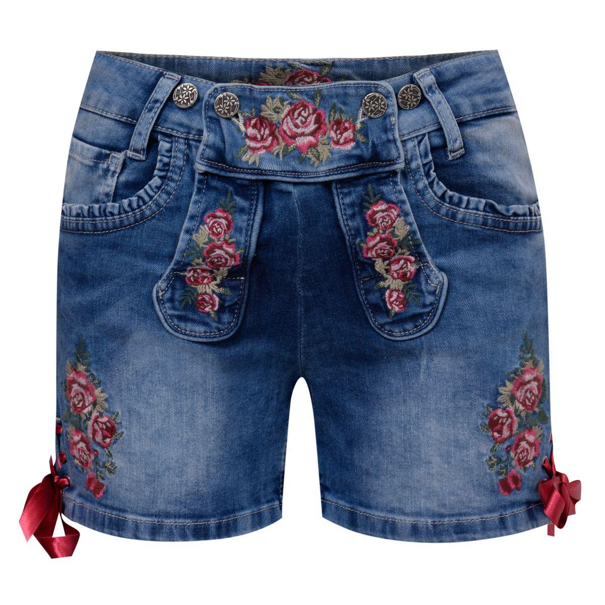 kurze Jeans-Lederhose Rose in Blau von Marjo Trachten