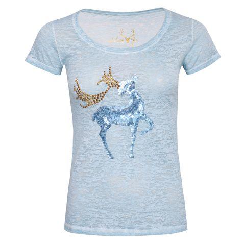 Trachtenshirt Feli in Blau von Marjo Trachten