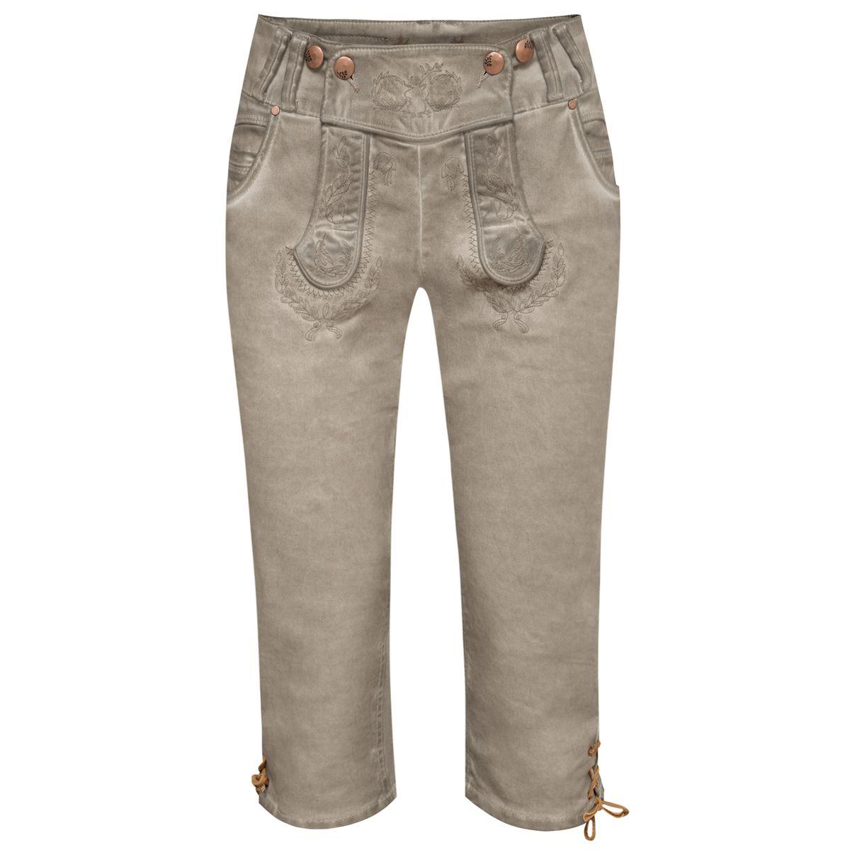Jeans-Kniebundlederhose Nicole in Grau von Hangowear günstig online kaufen