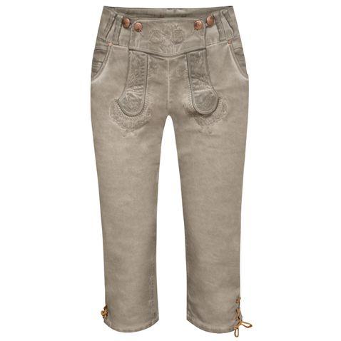 Jeans-Kniebundlederhose Nicole in Grau von Hangowear