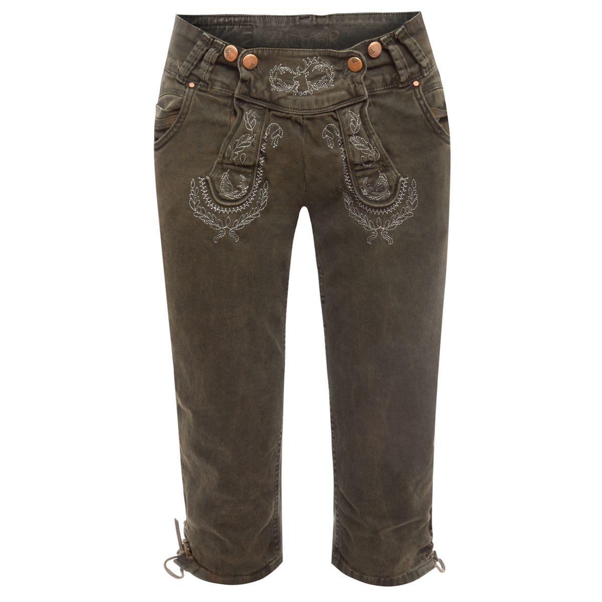 Jeans-Kniebundlederhose Nicole in Dunkelbraun von Hangowear günstig online kaufen