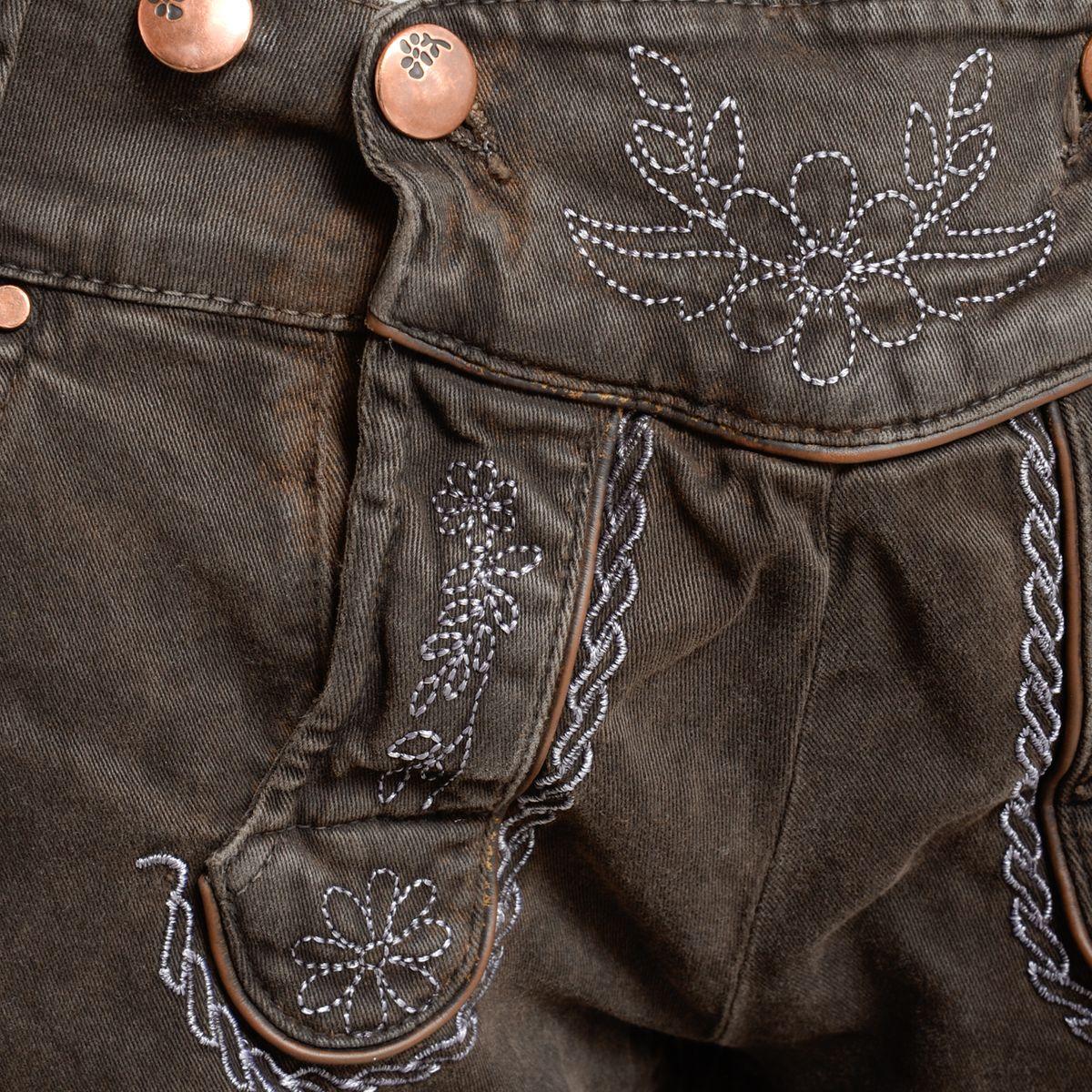 jeans lederhose bermuda in dunkelbraun von hangowear. Black Bedroom Furniture Sets. Home Design Ideas