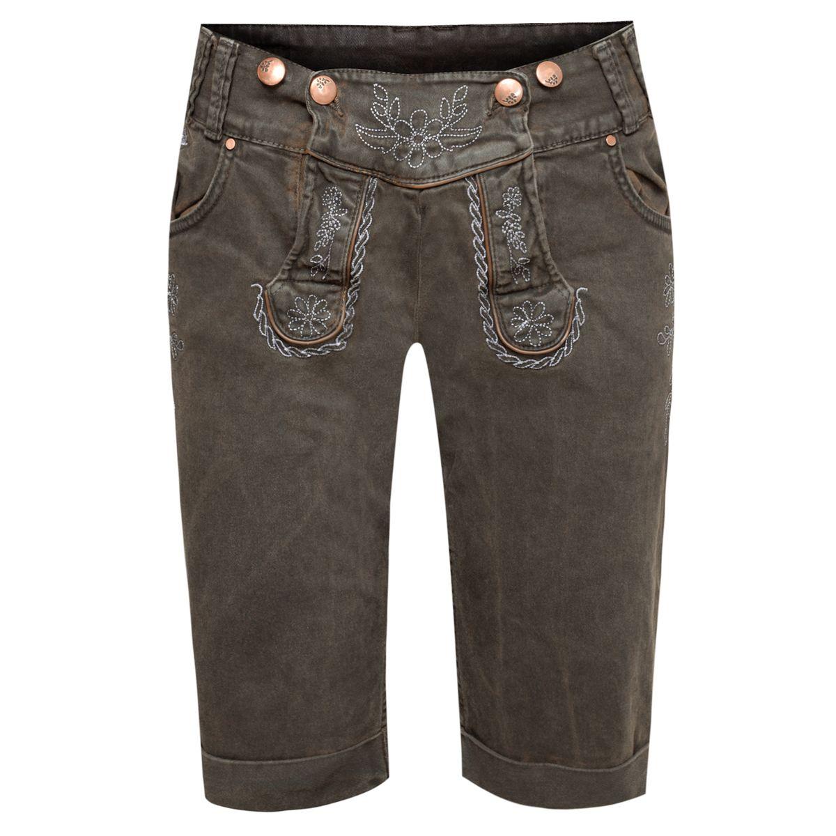 Jeans-Lederhose Bermuda in Dunkelbraun von Hangowear günstig online kaufen