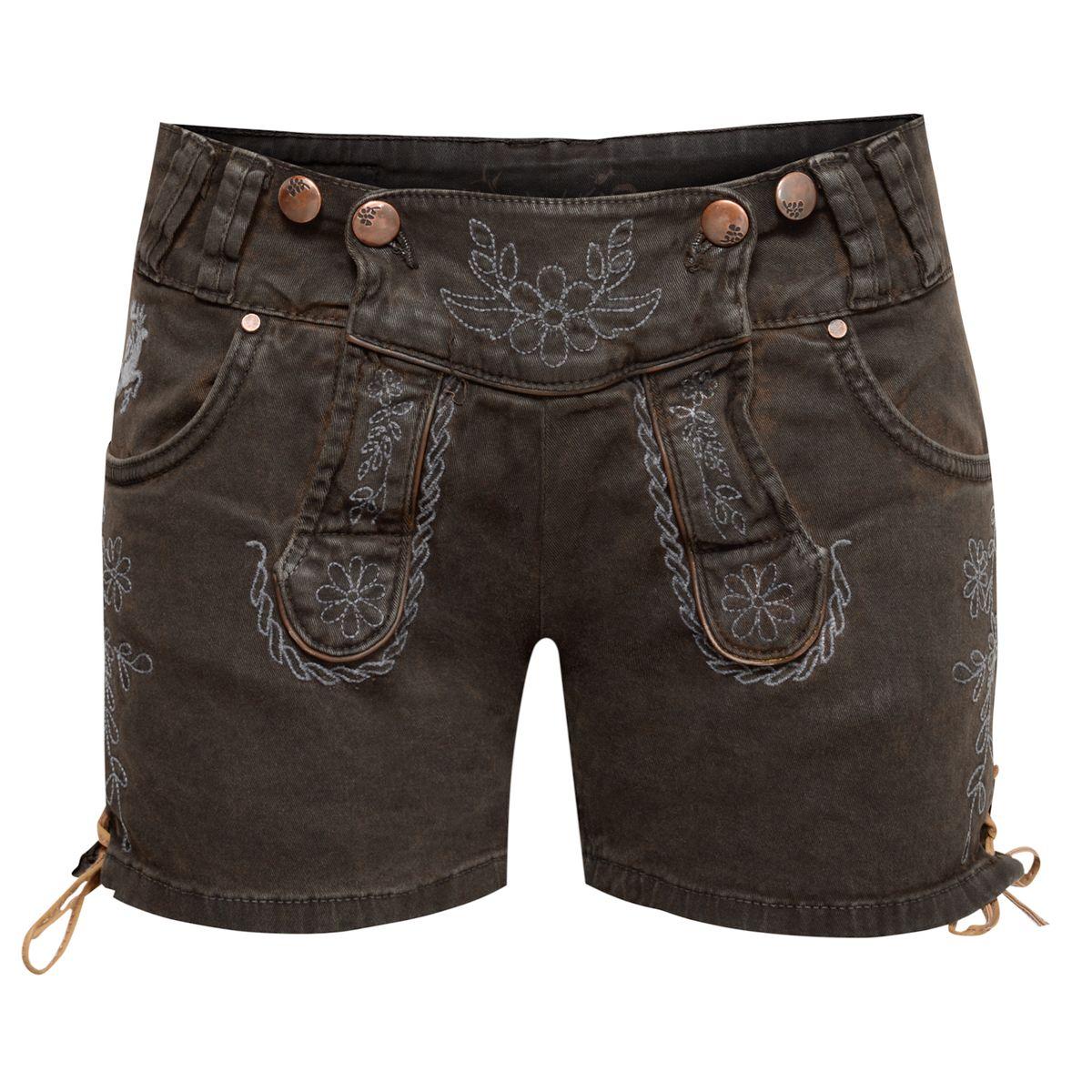 kurze jeans lederhose evarl in dunkelbraun von hangowear damen lederhosen f r damen kurze lederhosen. Black Bedroom Furniture Sets. Home Design Ideas