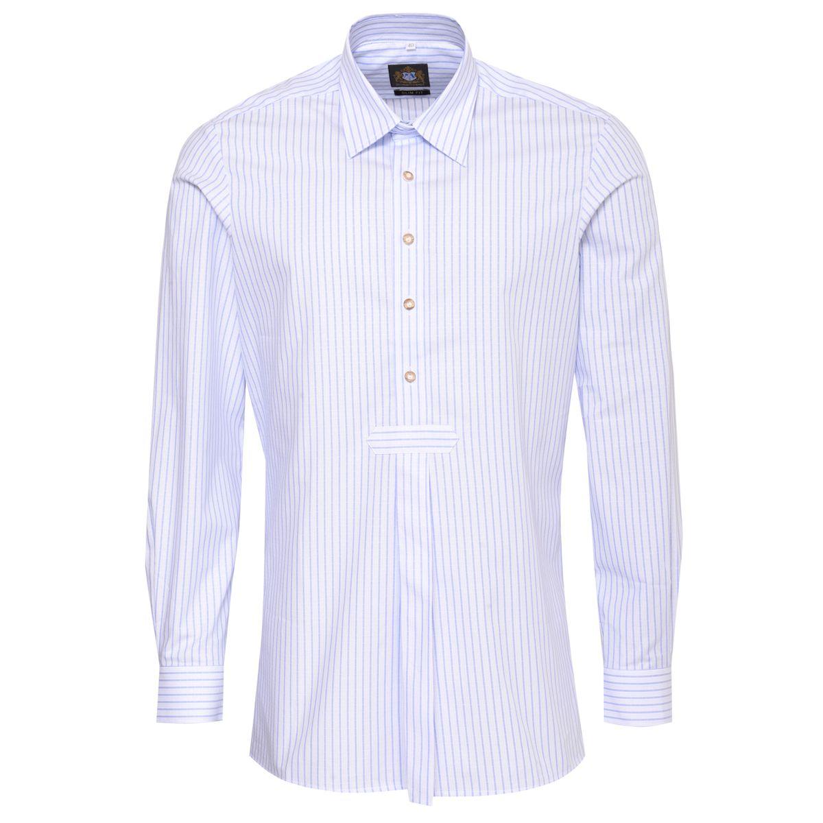 Trachtenhemd Slim Fit Pfoad zweifarbig in Hellblau und Blau von Hammerschmid