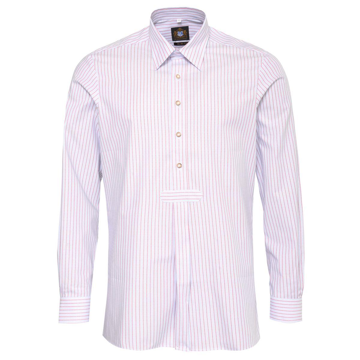 Trachtenhemd Slim Fit Pfoad zweifarbig in Hellblau und Rot von Hammerschmid günstig online kaufen