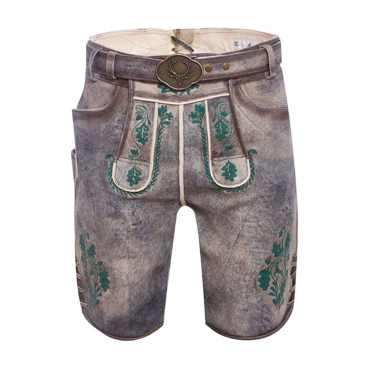 Kurze Lederhose Vincent in Grau von Gweih und Silk günstig online kaufen