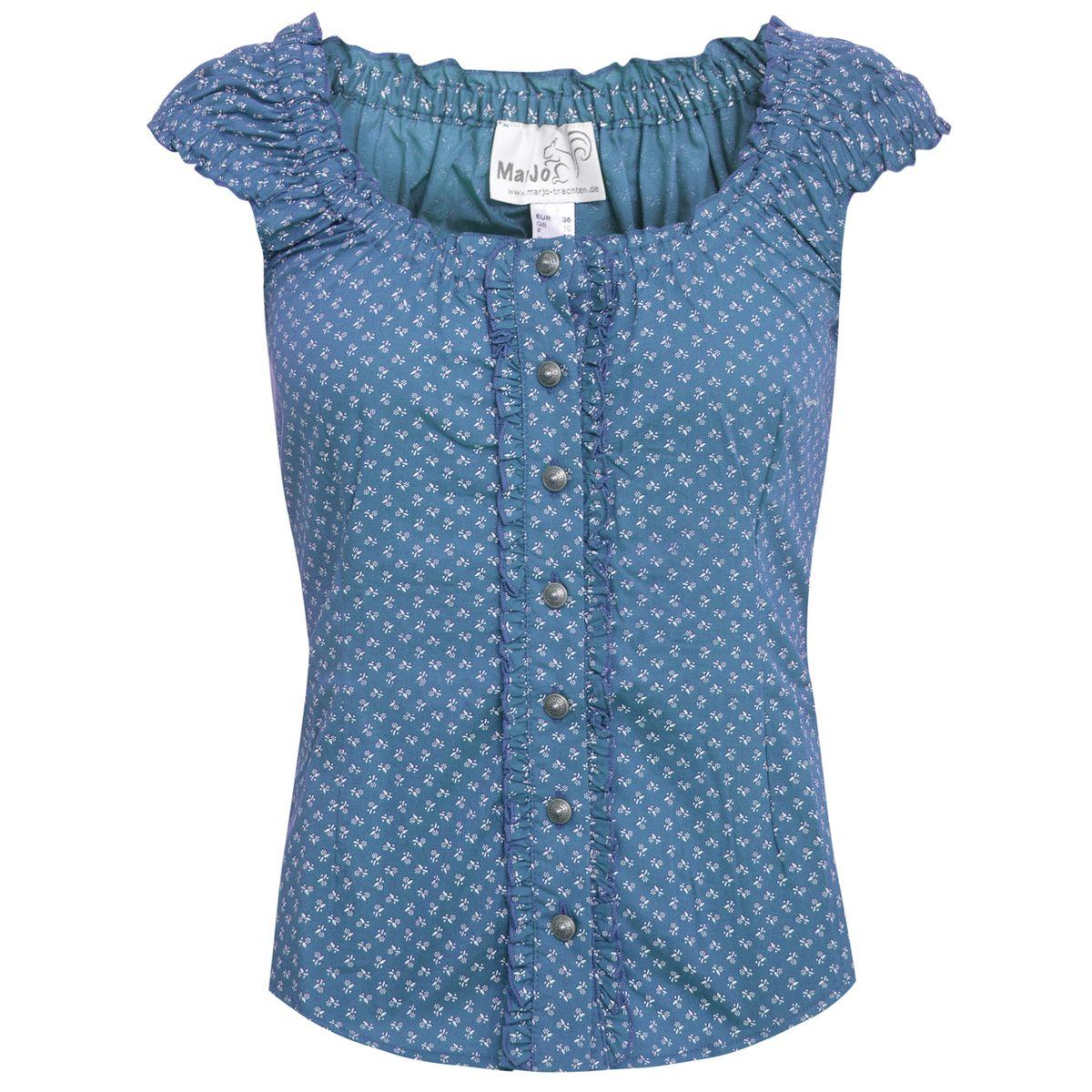 Trachtenbluse Darina-Maren in Blau von Marjo Trachten günstig online kaufen