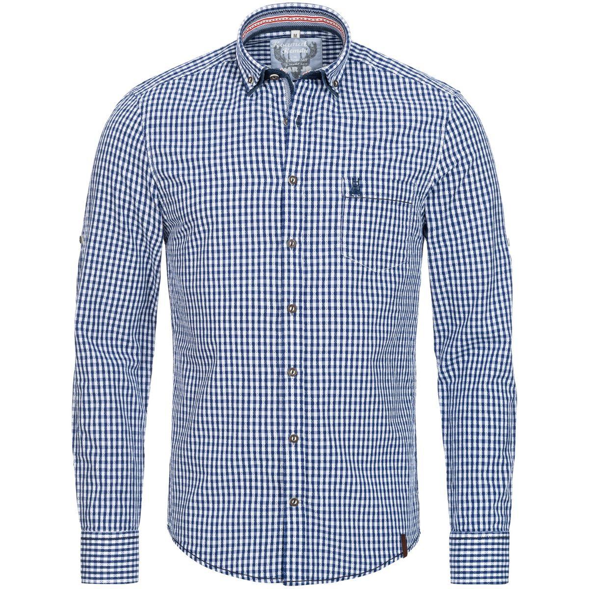 Trachtenhemd Slimline Fatos in Blau von Marjo Trachten günstig online kaufen
