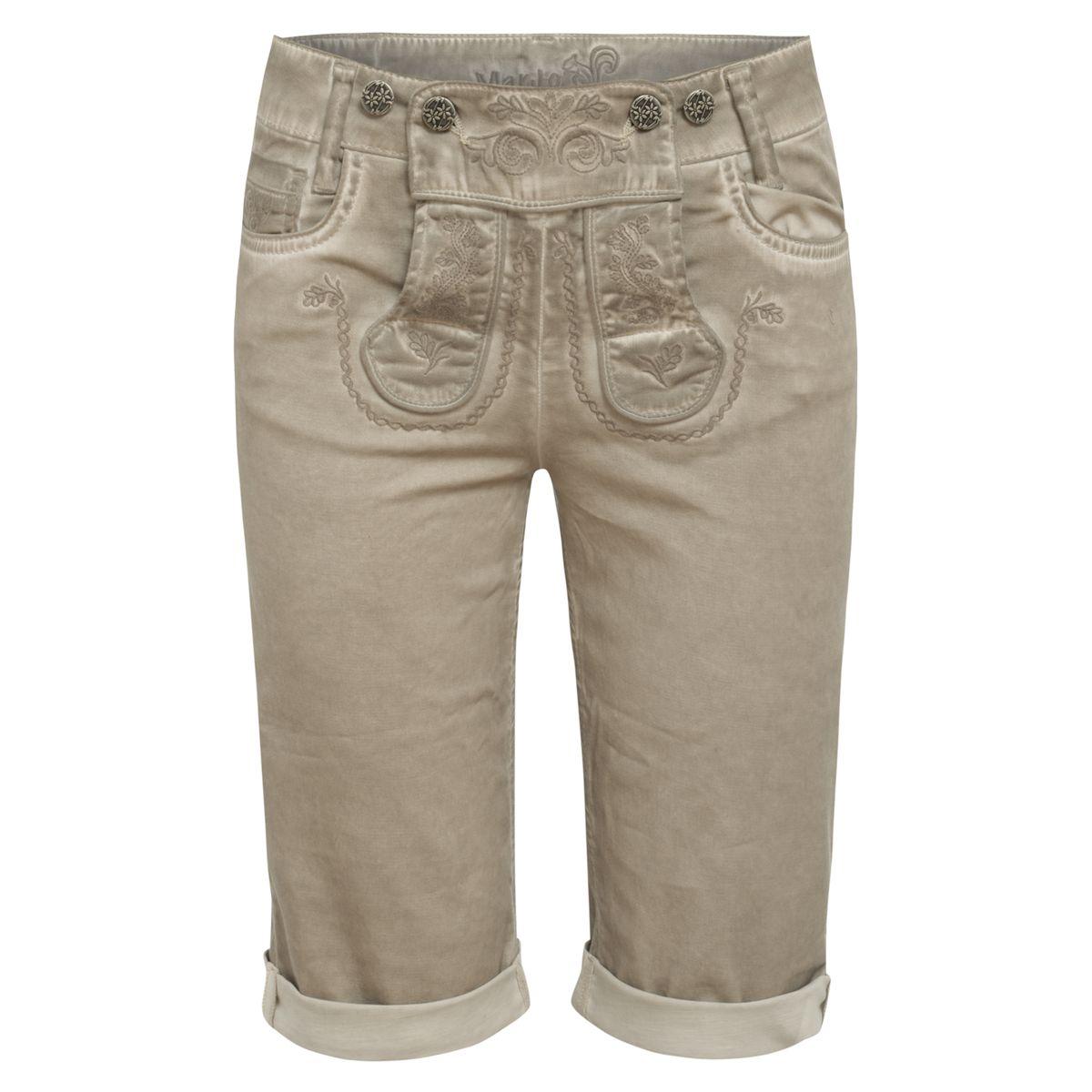 Jeans-Lederhose Franzi Capri in Grau von Marjo Trachten