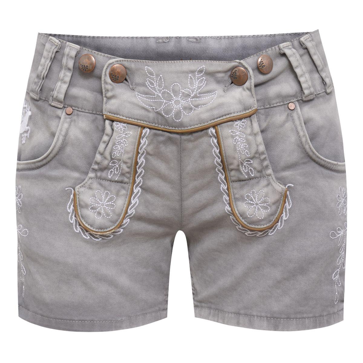kurze Jeans-Lederhose Betty in Hellgrau von Hangowear