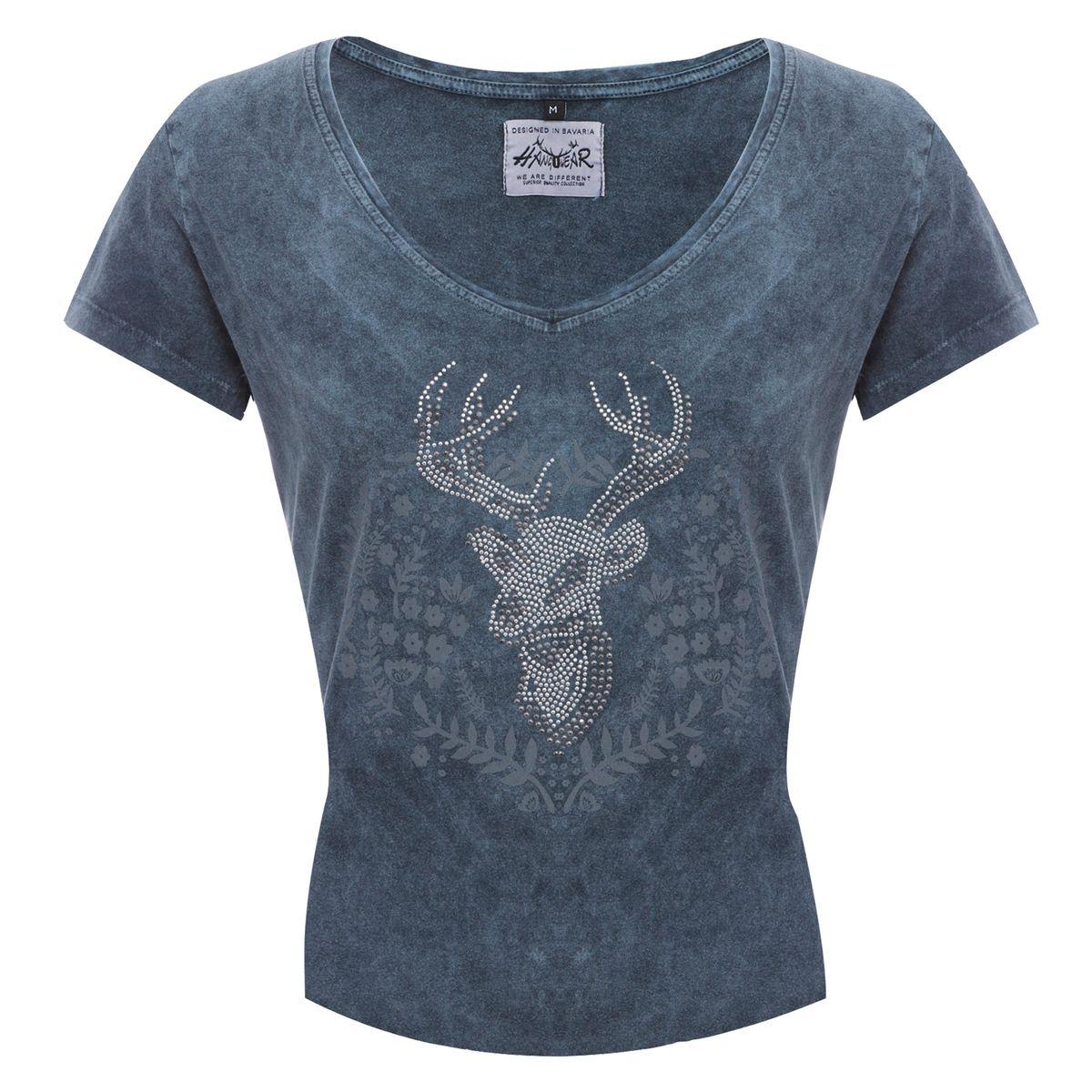 Trachtenshirt Inga in Grau-Blau von Hangowear günstig online kaufen