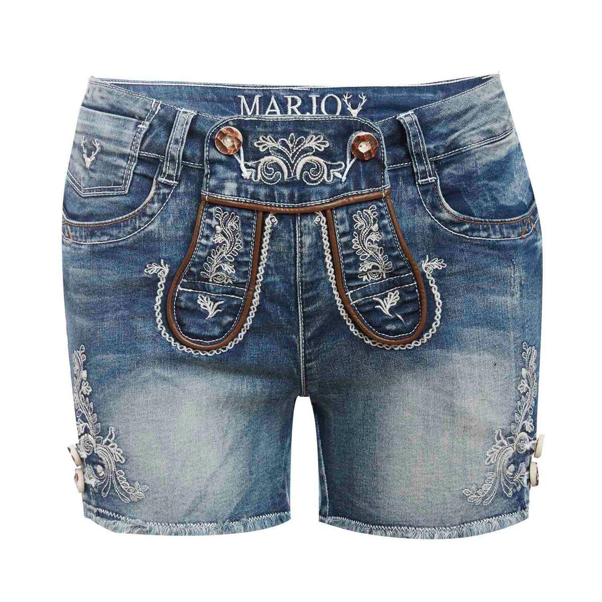 Kurze Jeans-Lederhose Franziska in Blau von Marjo Trachten günstig online kaufen