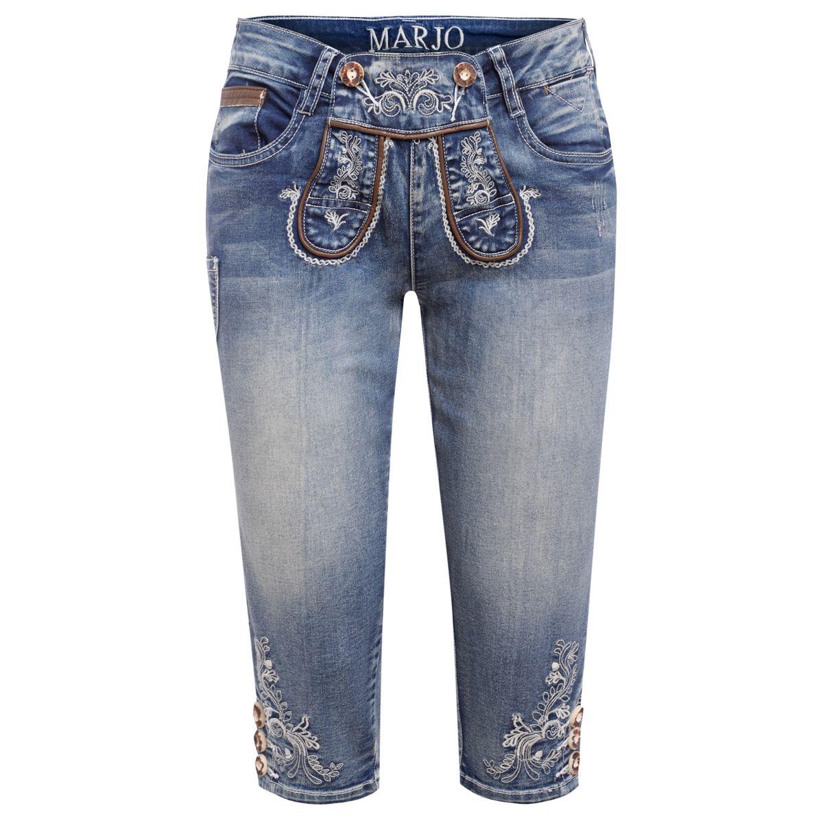 Jeans-Kniebundlederhose Franziska in Blau von Marjo Trachten günstig online kaufen