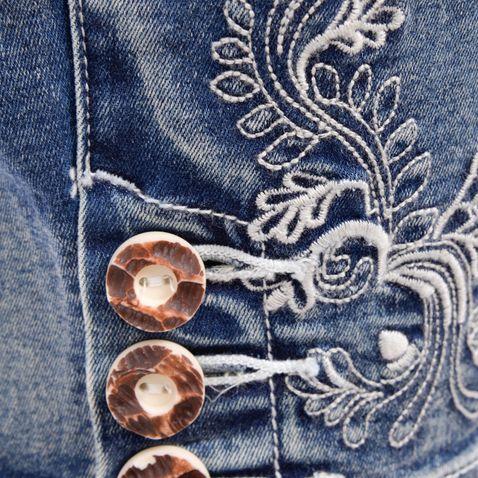 Jeans-Kniebundlederhose Franziska in Blau von Marjo Trachten