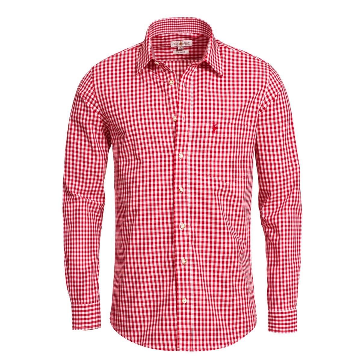 Trachtenhemd Liberto Slim Fit in Rot von Almsach günstig online kaufen