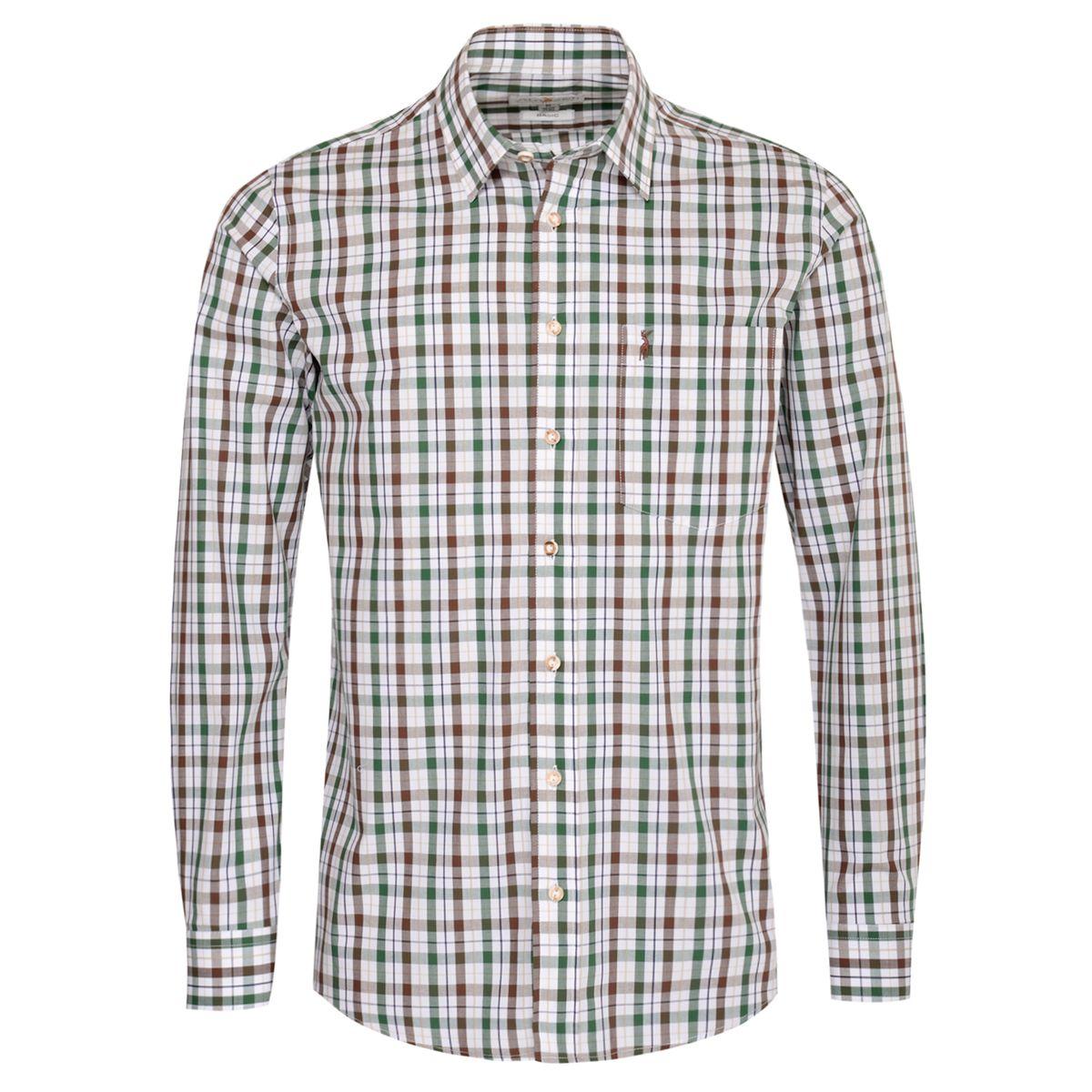 Trachtenhemd Hans Regular Fit zweifarbig in Braun und Dunkelgrün von Almsach günstig online kaufen