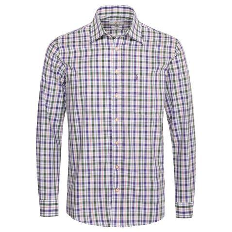 Trachtenhemd Uwe Regular Fit zweifarbig in Lila und Dunkelgrün von Almsach