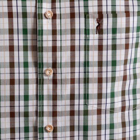 Kurzarm Trachtenhemd Joachim Regular Fit zweifarbig in Braun und Dunkelgrün von Almsach