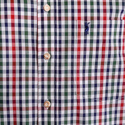 Trachtenhemd Barthl Regular Fit zweifarbig in Rot und Dunkelgrün von Almsach