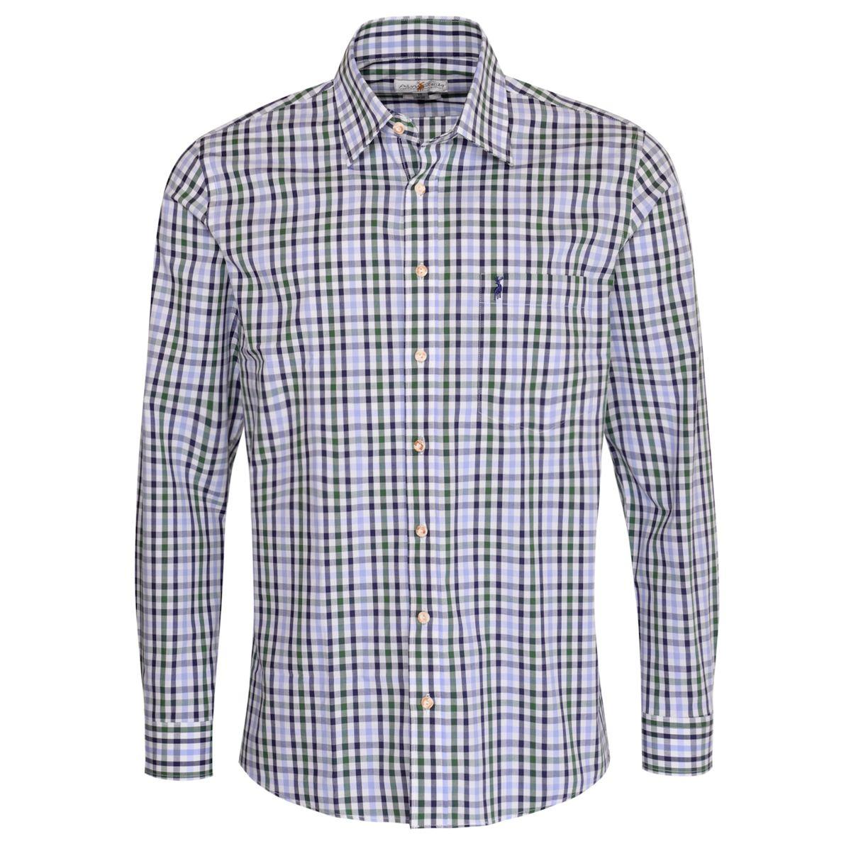 Trachtenhemd Beppo Regular Fit zweifarbig in Hellblau und Dunkelgrün von Almsach günstig online kaufen