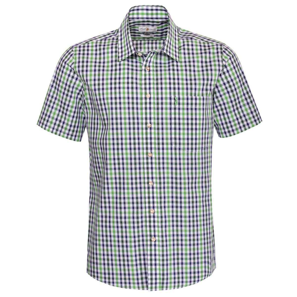 Kurzarm Trachtenhemd Fonsi Regular Fit zweibrig in Hellgrün und Dunkelgrün von Almsach günstig online kaufen