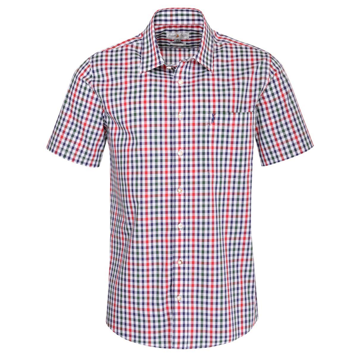 Kurzarm Trachtenhemd Franzl Regular Fit zweifarbig in Rot und Dunkelgrün von Almsach günstig online kaufen