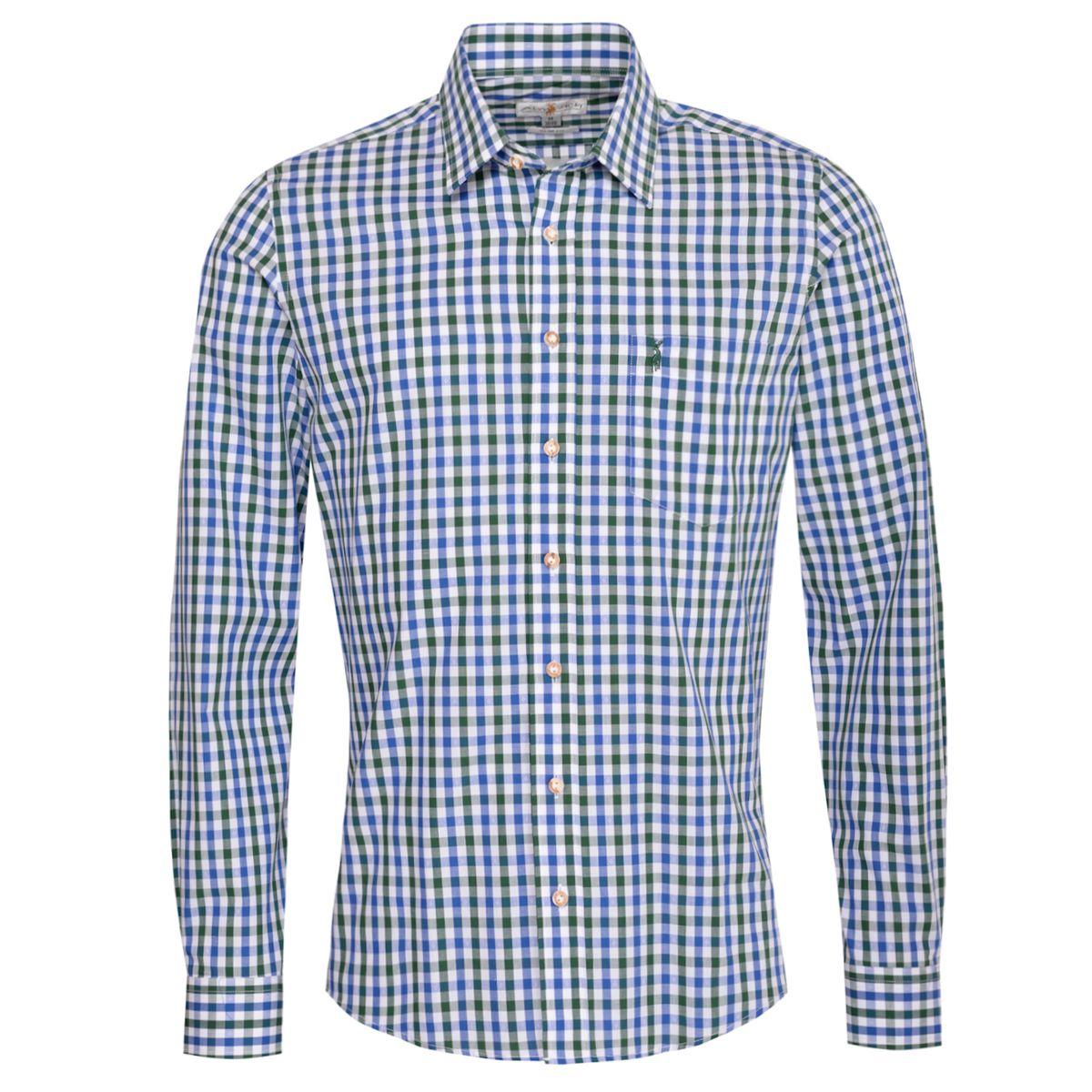 Trachtenhemd Florentin Slim Fit zweifarbig in Blau und Dunkelgrün von Almsach günstig online kaufen