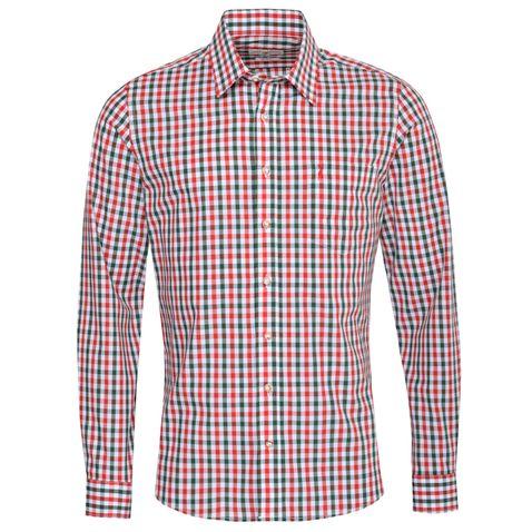 Trachtenhemd Gerold Slim Fit zweifarbig in Rot und Dunkelgrün von Almsach