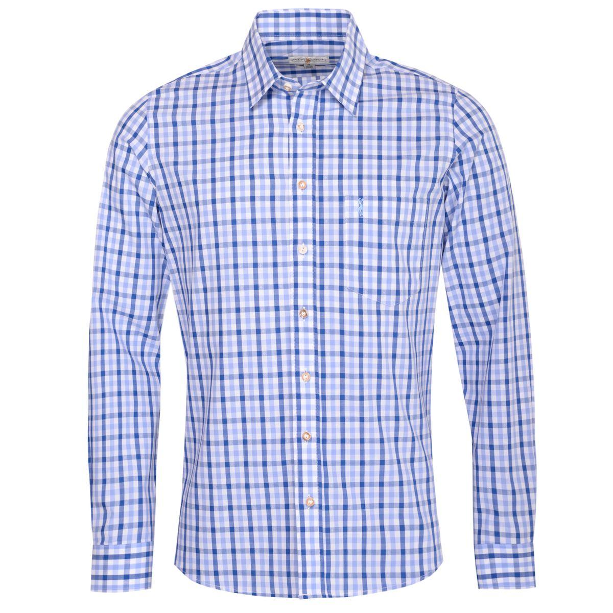 Trachtenhemd Friedolin Slim Fit zweifarbig in Hellblau und Blau von Almsach günstig online kaufen