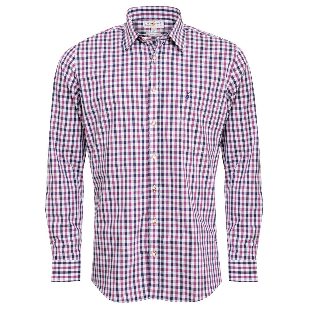 Trachtenhemd Siggi Slim Fit zweifarbig in Lila und Dunkelblau von Almsach günstig online kaufen